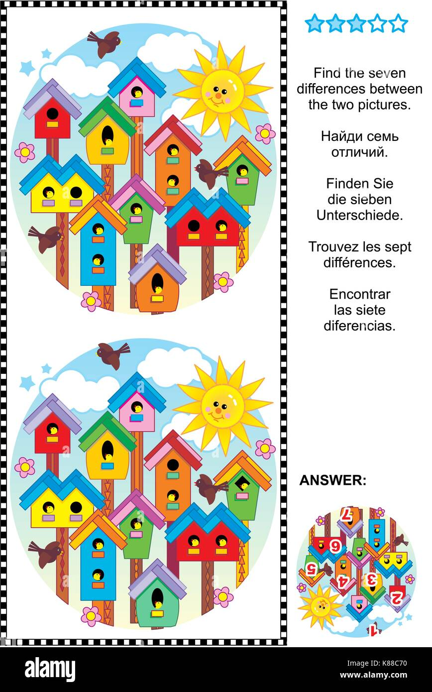 Picture puzzle: Find the seven differences between the two pictures of colorful spring birdhouses. Answer included. - Stock Image