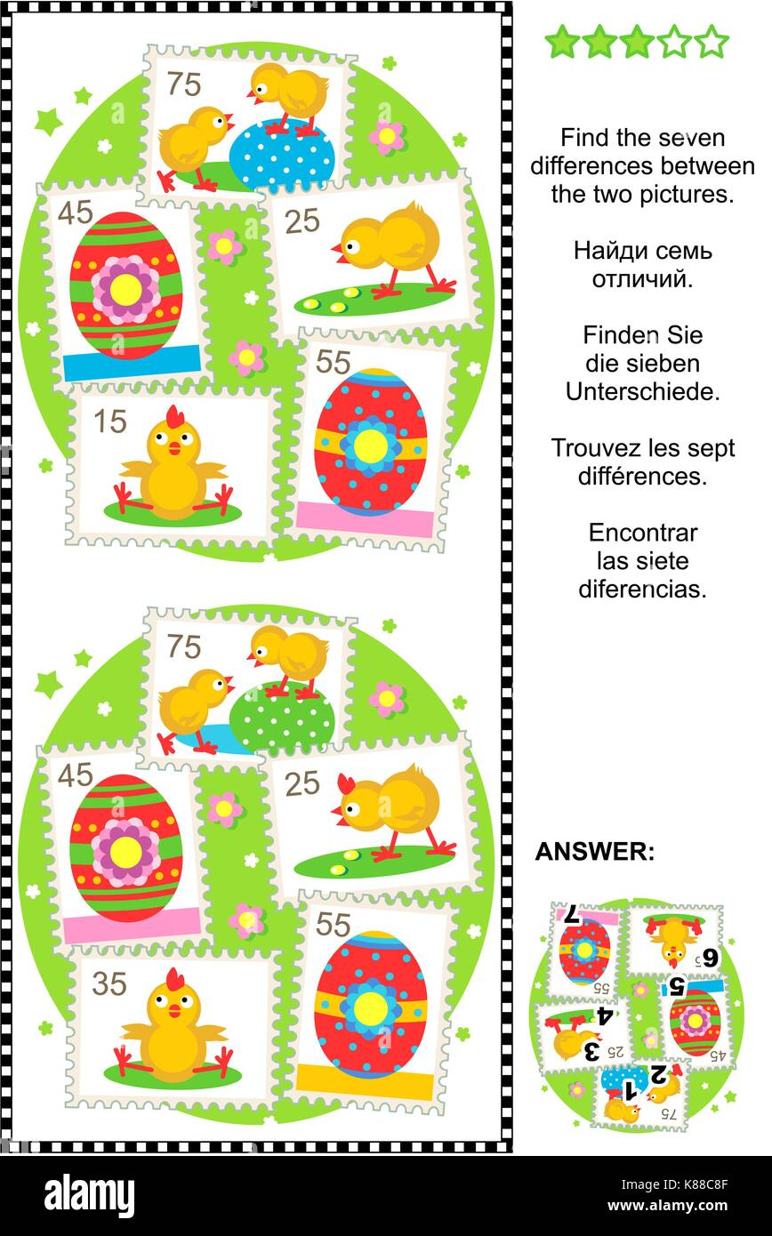 Picture puzzle: Find the seven differences between the two pictures with Easter and spring themed postage stamps - Stock Image