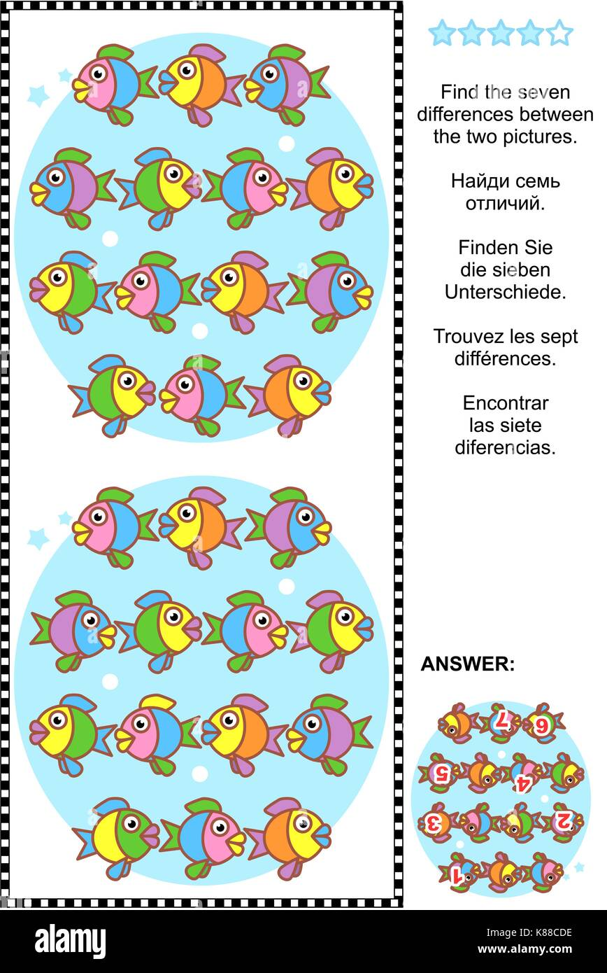Picture puzzle: Find the seven differences between the two pictures of cute colorful little fish. Answer included. - Stock Image