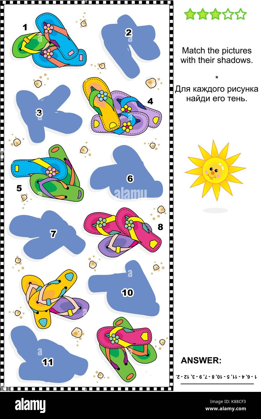 Visual puzzle or picture riddle (suitable both for kids and adults): Match the pictures of colorful flip-flops to - Stock Image