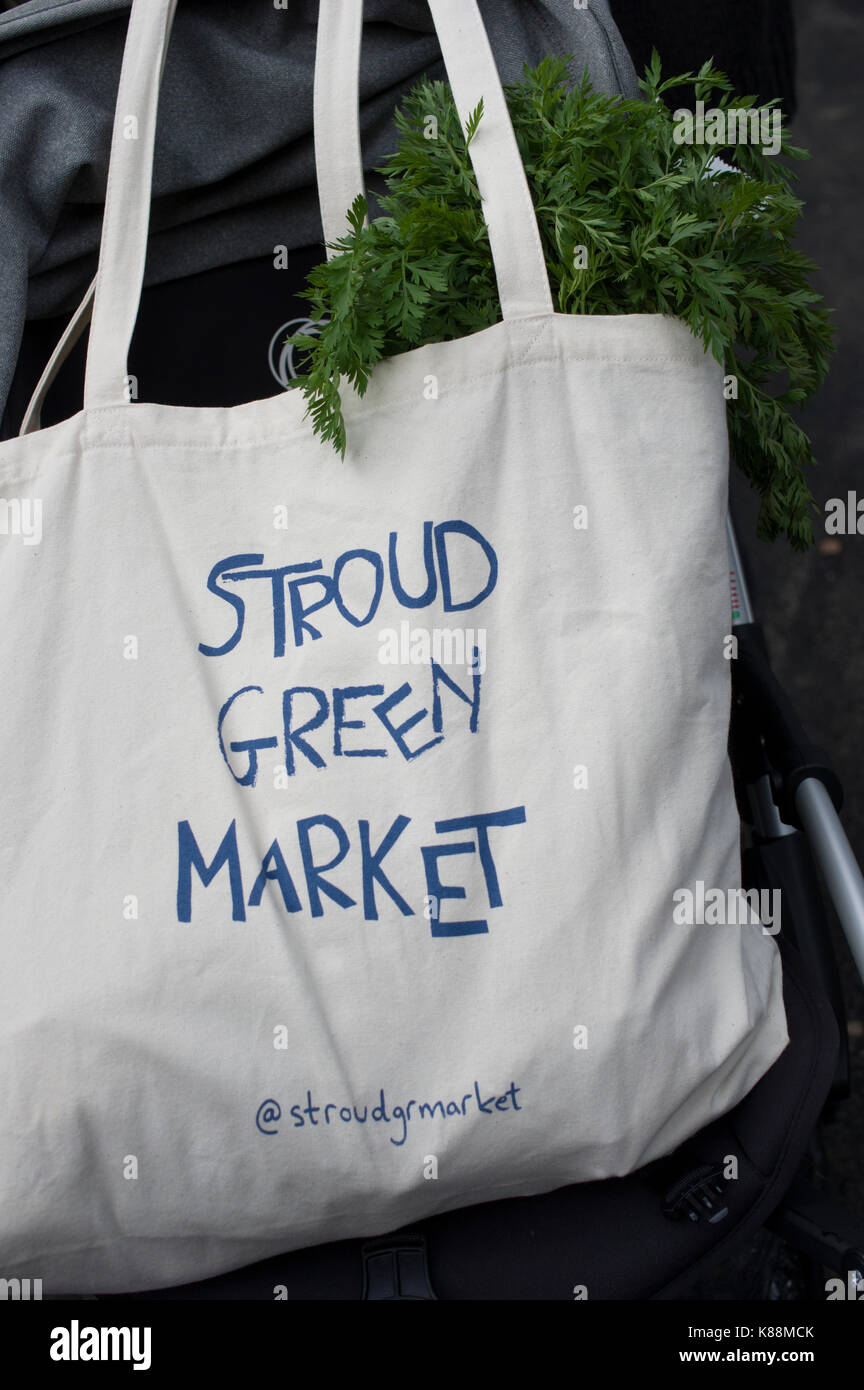 Stroud Green Market on a canvas bag in London on Ennis Road near Finsbury Park Station selling mainly vegetarian - Stock Image