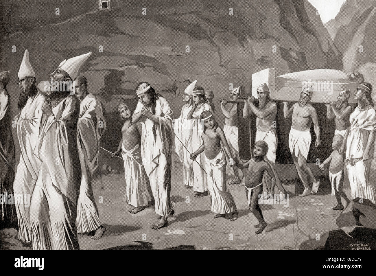 A Phoenician funeral procession. From Hutchinson's History of the Nations, published 1915. - Stock Image