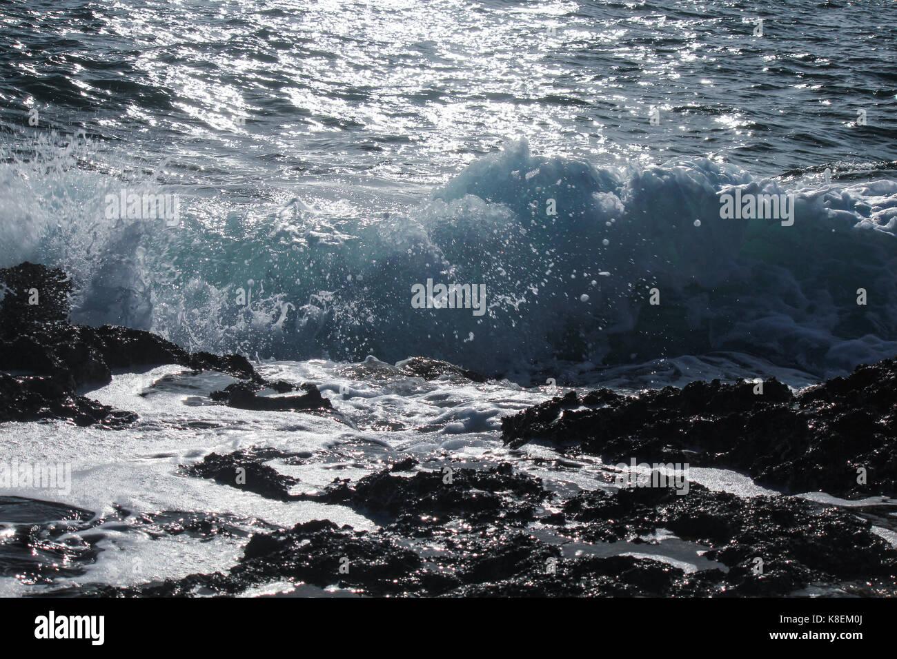 waves rushing - Stock Image