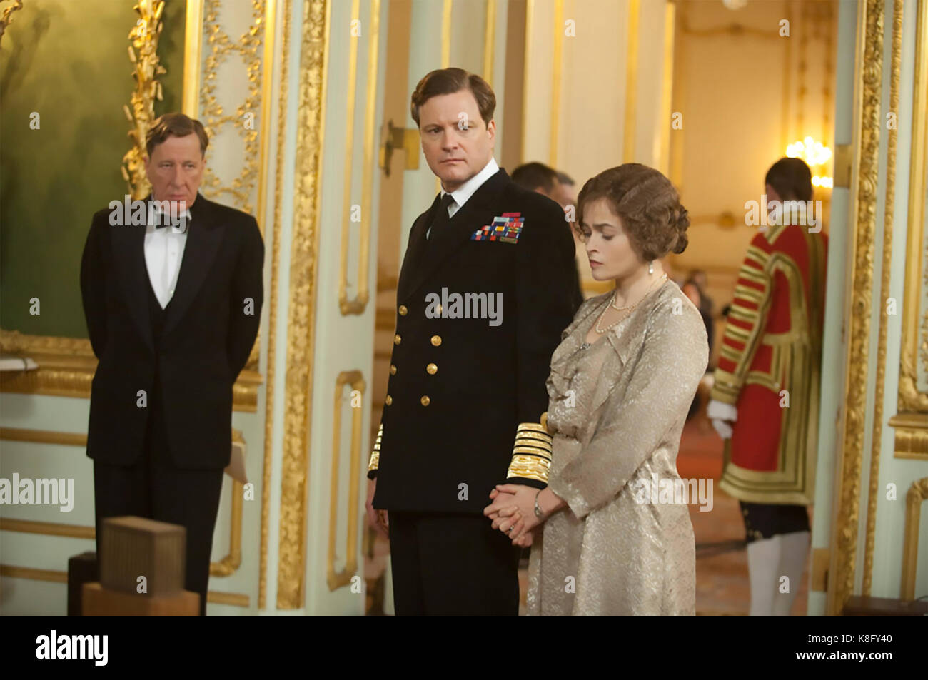 THE KING'S SPEECH 2010 See-Saw Films production with from left: Geoffrey Rush, Colin Firth and Helena Bonham - Stock Image