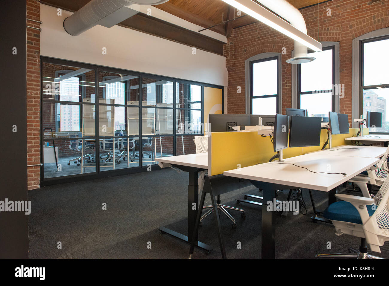 Trendy modern open concept loft office space with big - Open office free download for windows 8 ...