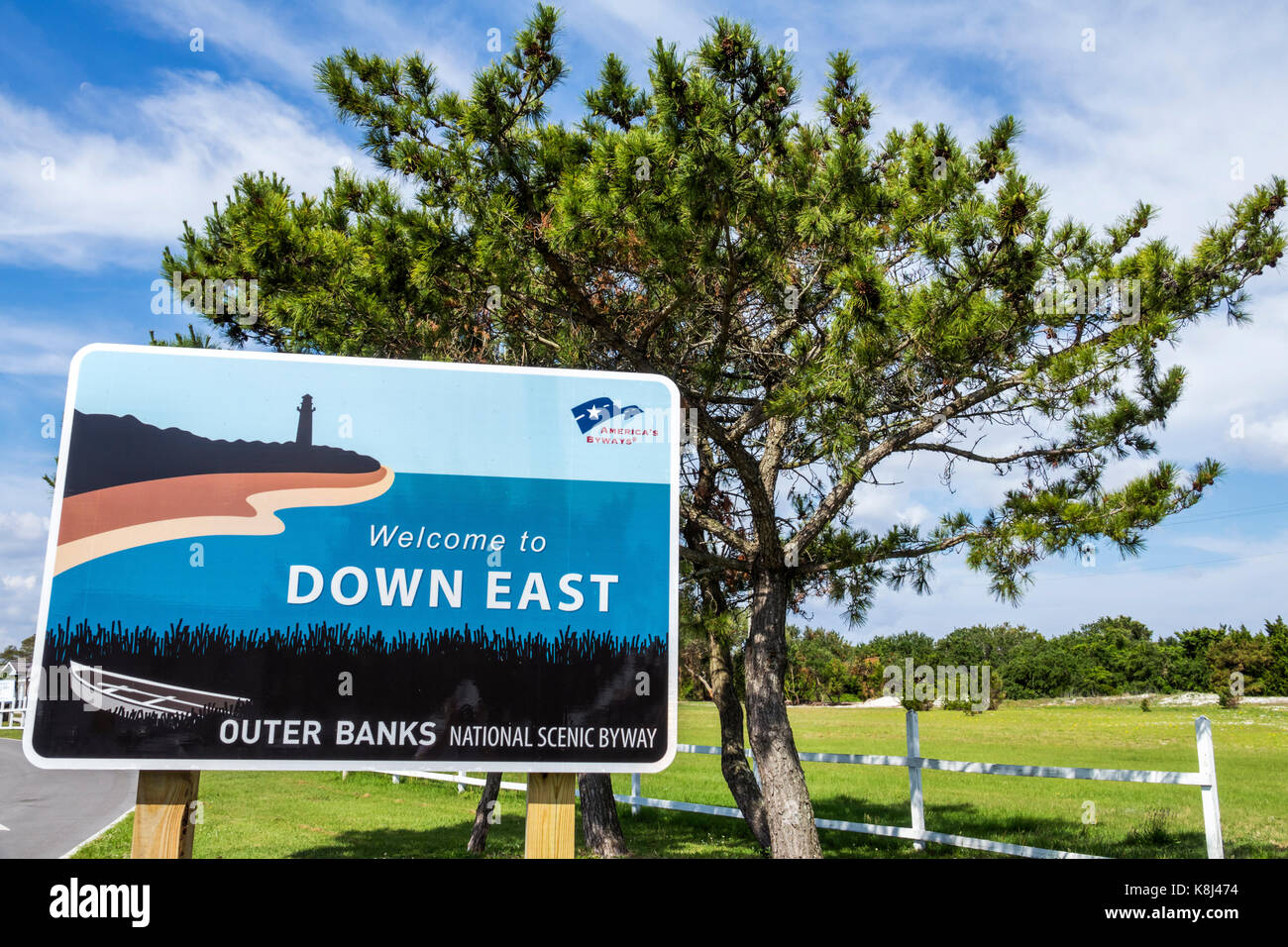 North Carolina NC Cedar Island Down East Outer Banks National Scenic Byway sign - Stock Image