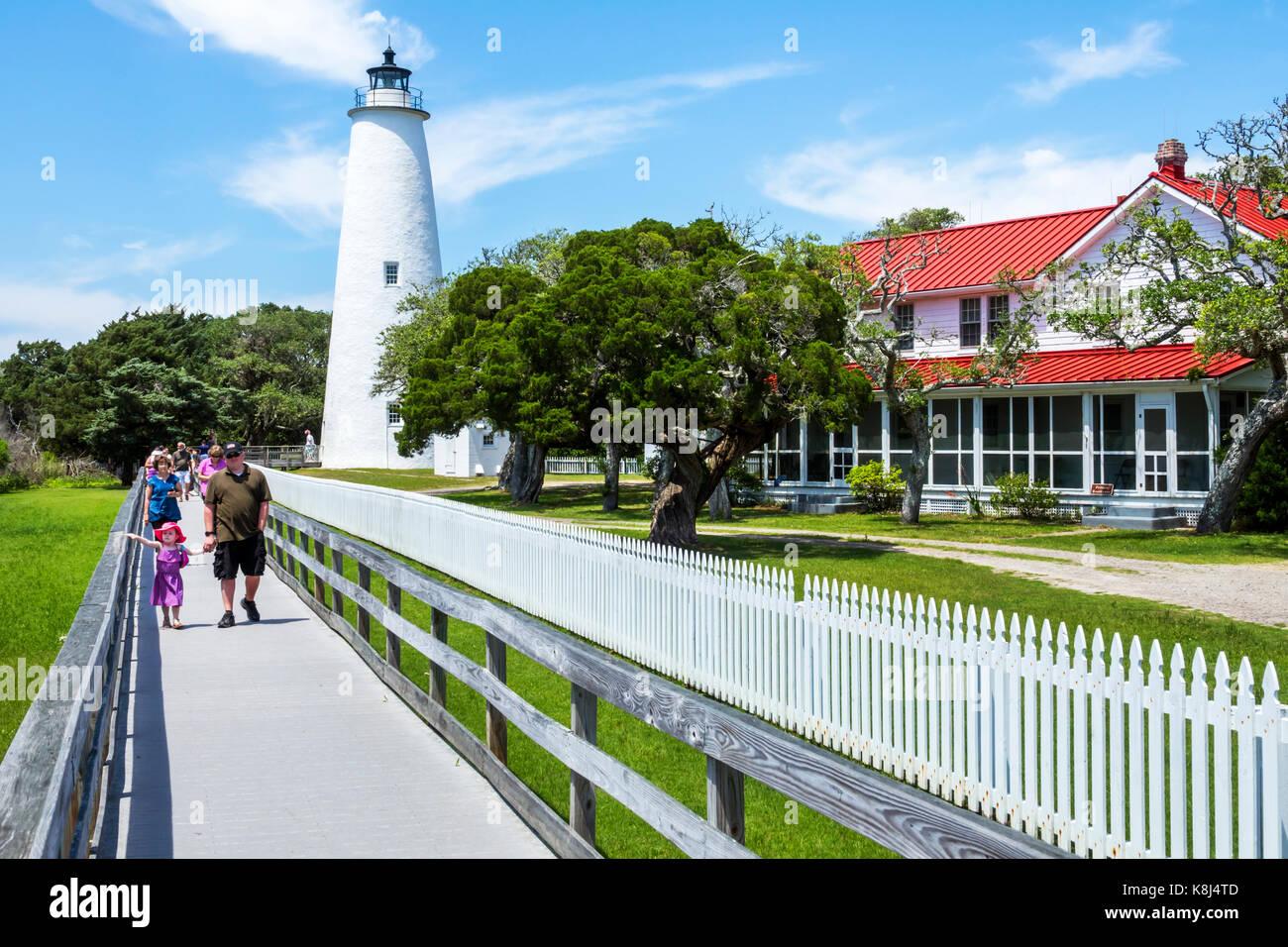Outer Banks North Carolina NC Ocracoke Island Ocracoke Light lighthouse station boardwalk - Stock Image