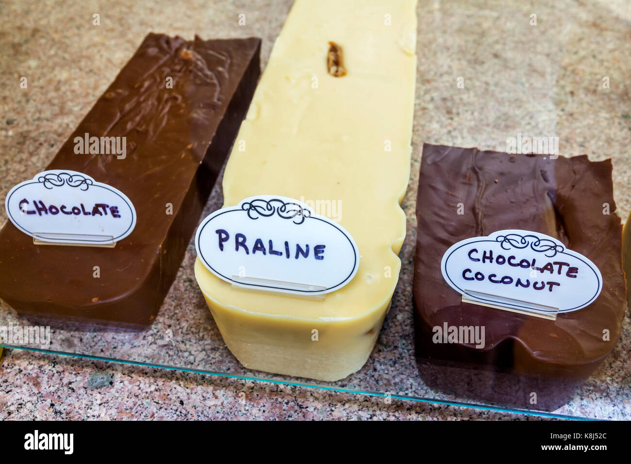 Outer Banks North Carolina NC Ocracoke Island Sweet Tooth and Fig Tree Bakery & Deli fudge praline chocolate - Stock Image