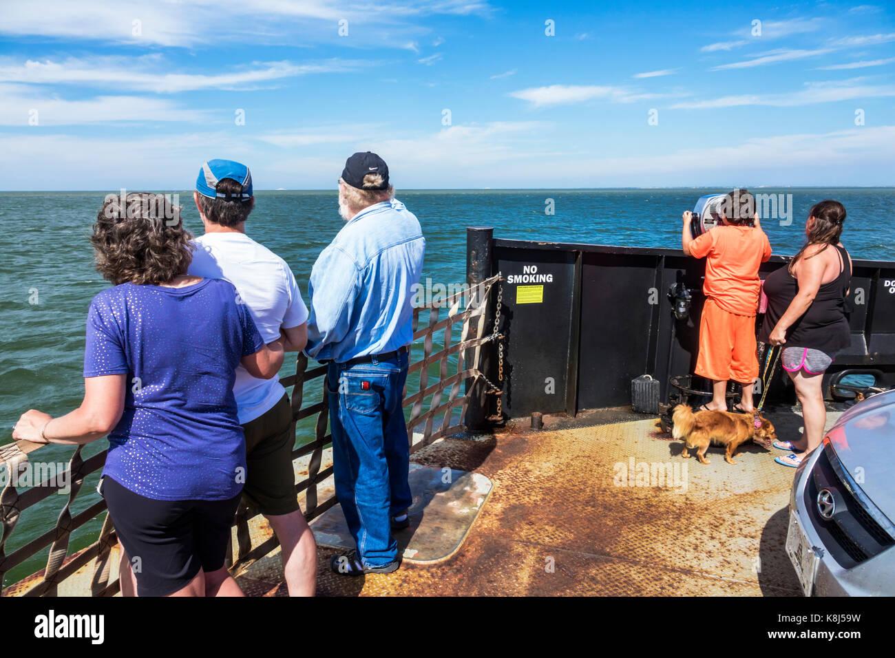 Outer Banks North Carolina NC Pamlico Sound Ocracoke Island Hatteras ferry water passengers horizon - Stock Image