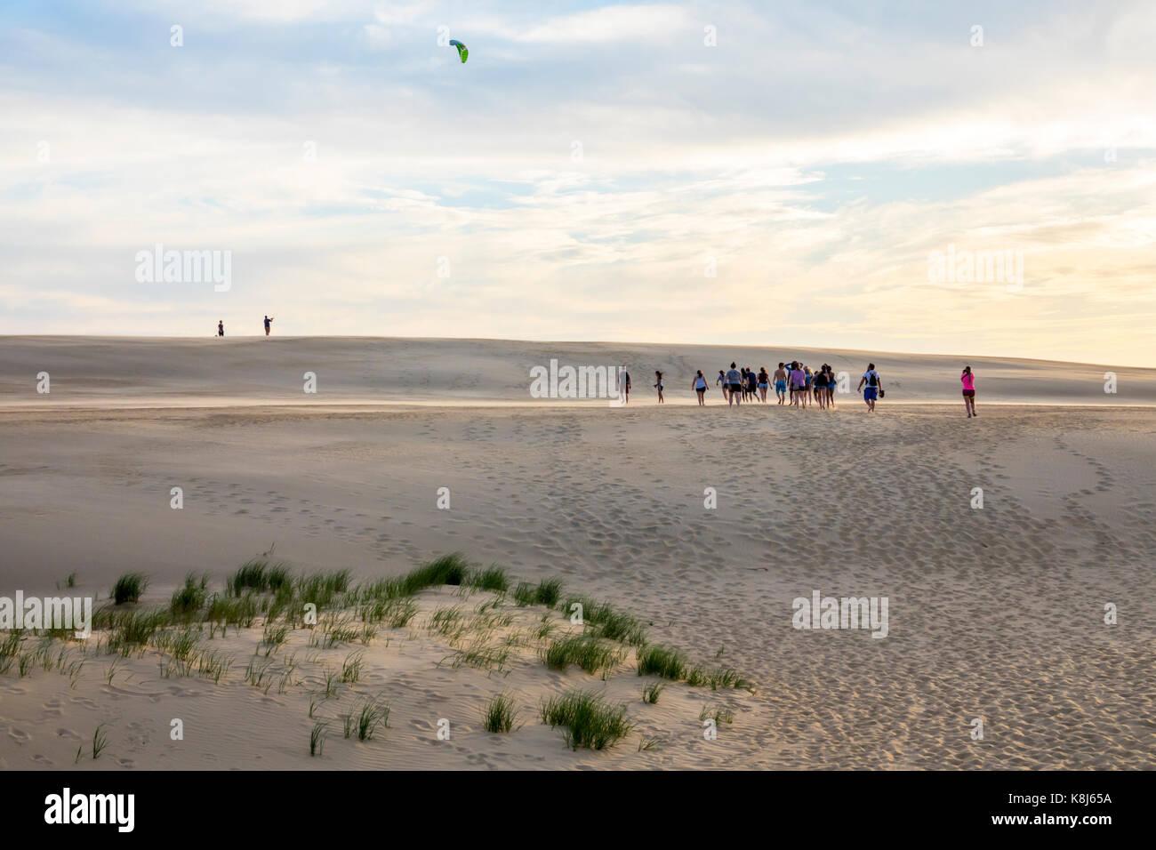 Outer Banks North Carolina NC Cape Hatteras National Seashore Jockey's Ridge State Park living sand dune kite - Stock Image