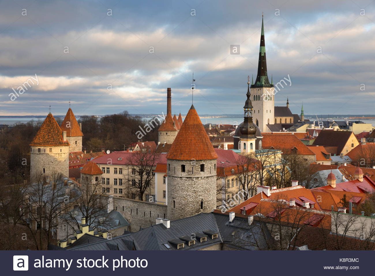 View over the Old Town with the towers of the City Walls and Oleviste Church from Patkuli Viewing Platform, Old - Stock Image