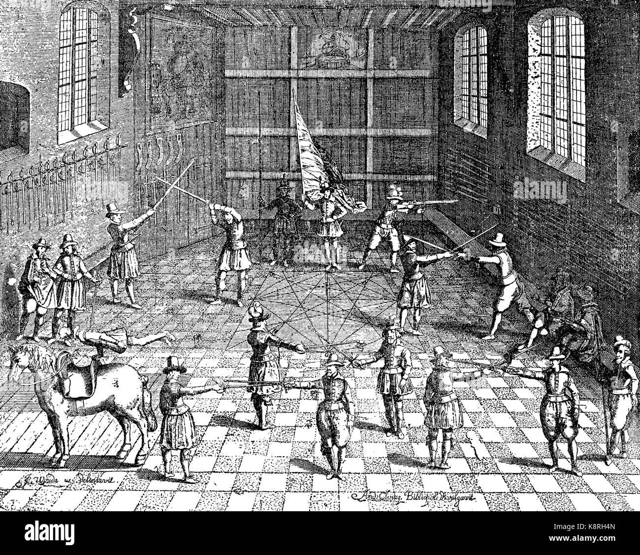 Students fencing, university of Leiden, Holland, Fechtübungen der Studenten in Leiden, 1610, digital improved - Stock Image