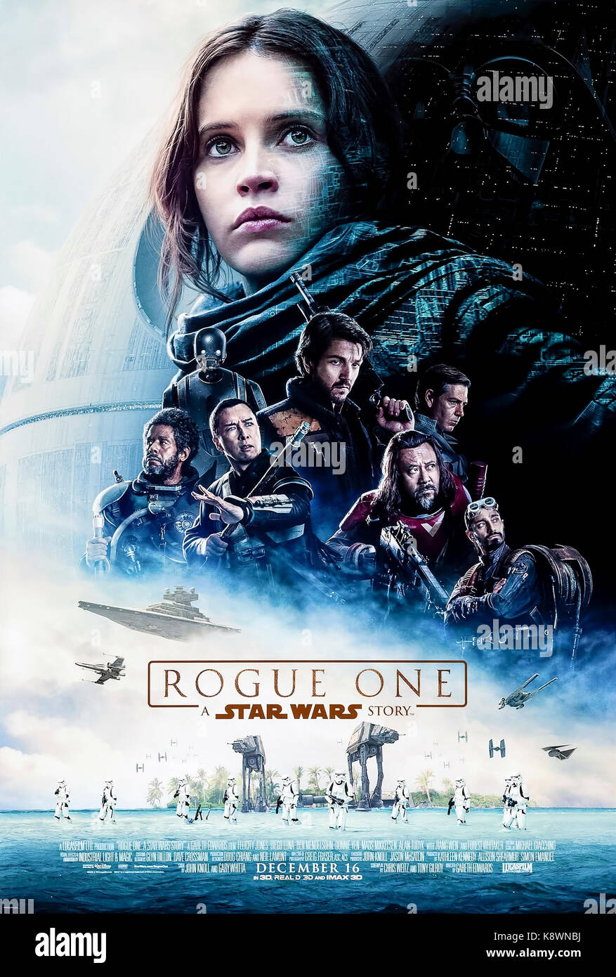 Rogue One (2016) directed by Gareth Edwards and starring Felicity Jones, Diego Luna and Alan Tudyk. Star Wars film - Stock Image