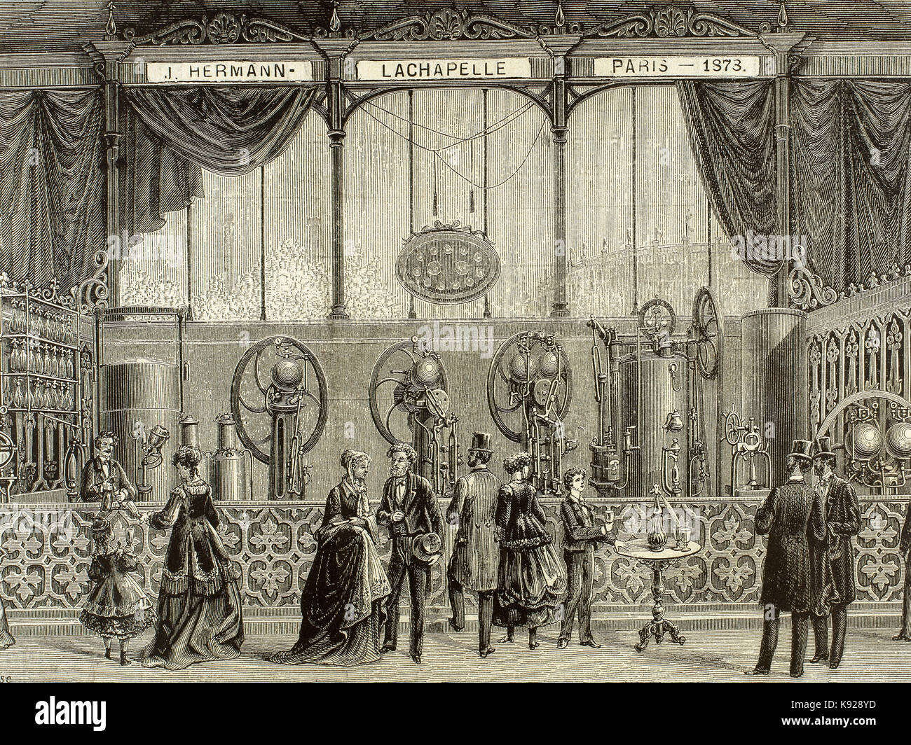 France. Paris. Universal Exhibition of 1878 held at the Trocadero. Installation by J. Hermann Lachapelle. Continuous Stock Photo