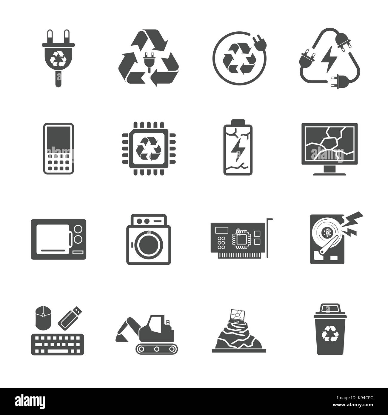 Recycling e-waste garbage, Contains such Icons as Electronic waste, Monitor, Phone, Battery and more. - Stock Image