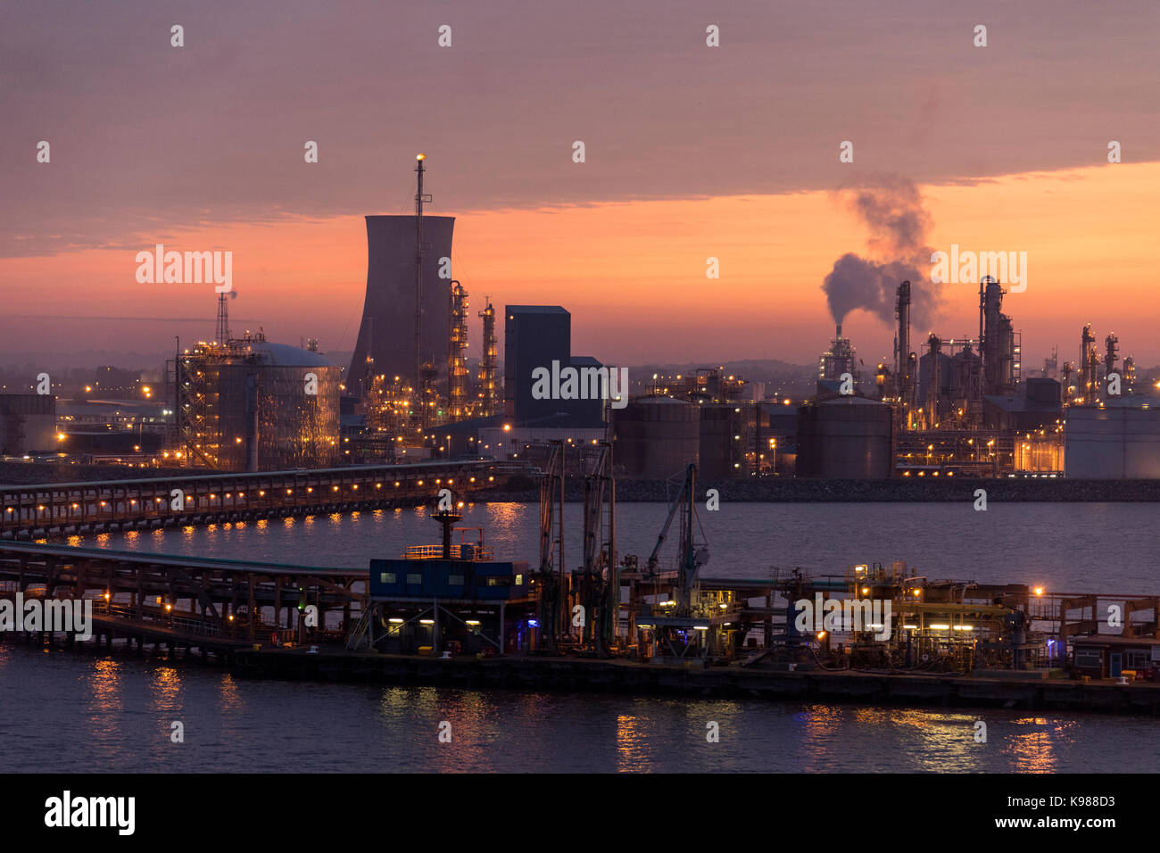 Dawn over the industrial skyline of the Humber Estuary near the city of Hull in northeast England. - Stock Image