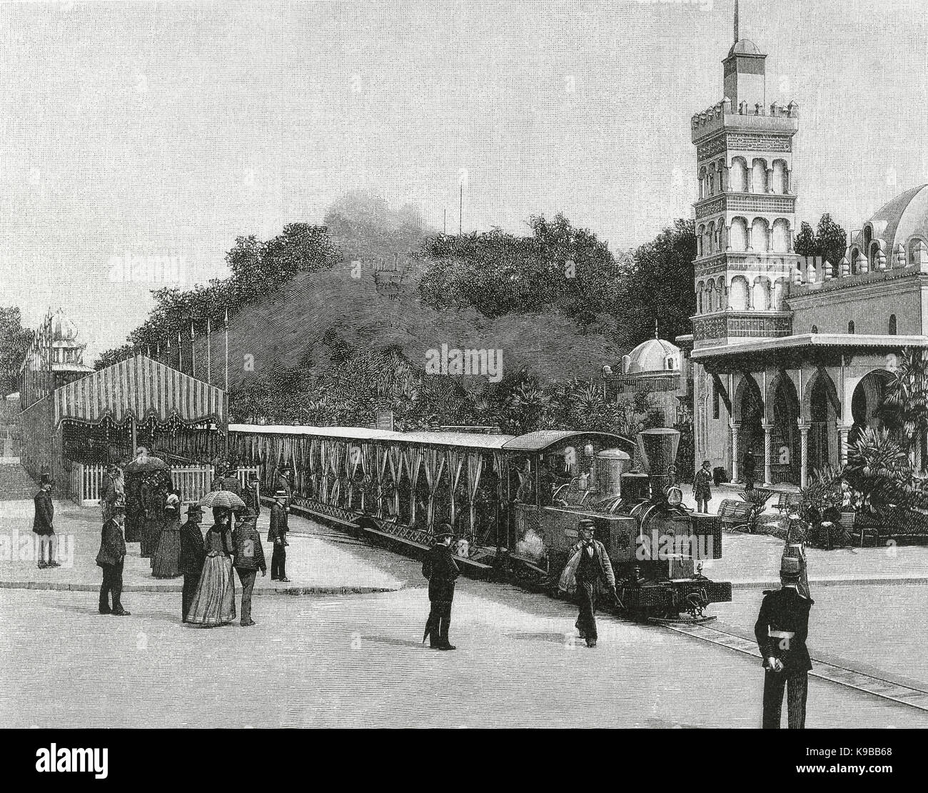 France. Paris. Universal Exhibition of 1889. Decauville railroad train at the departure station. Esplanade of the - Stock Image