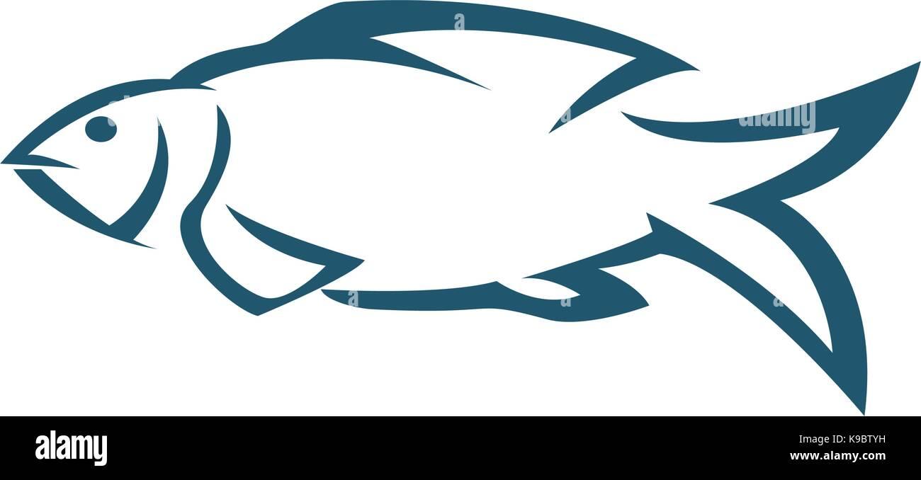 Fish logo template creative vector symbol of fishing club for K9 fishing line