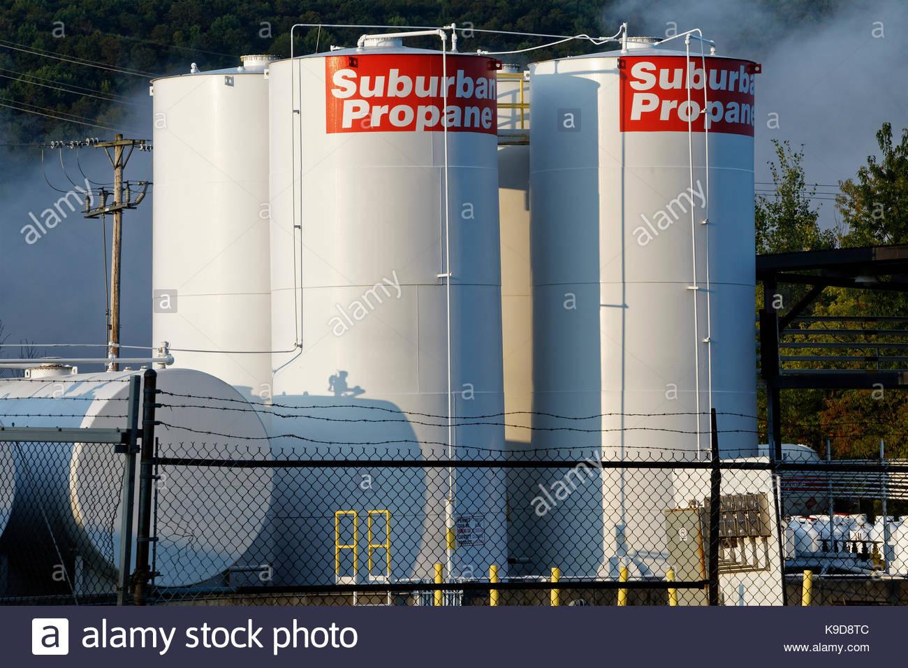 Propane storage tanks, New York, Cortland, NY, USA - Stock Image