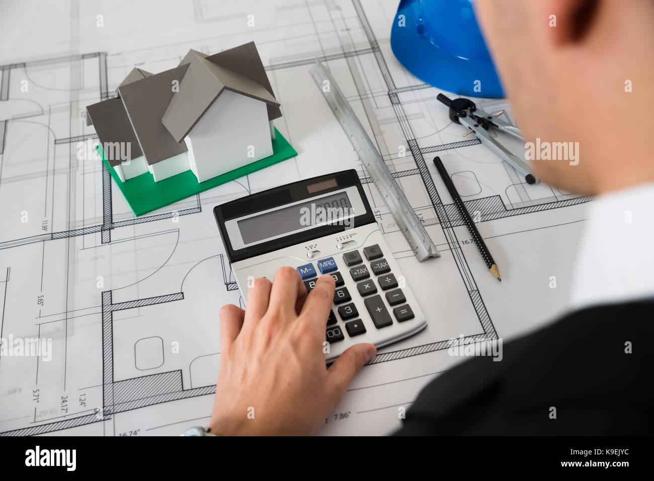 Engineering office and calculator stock photos for Blueprint estimator