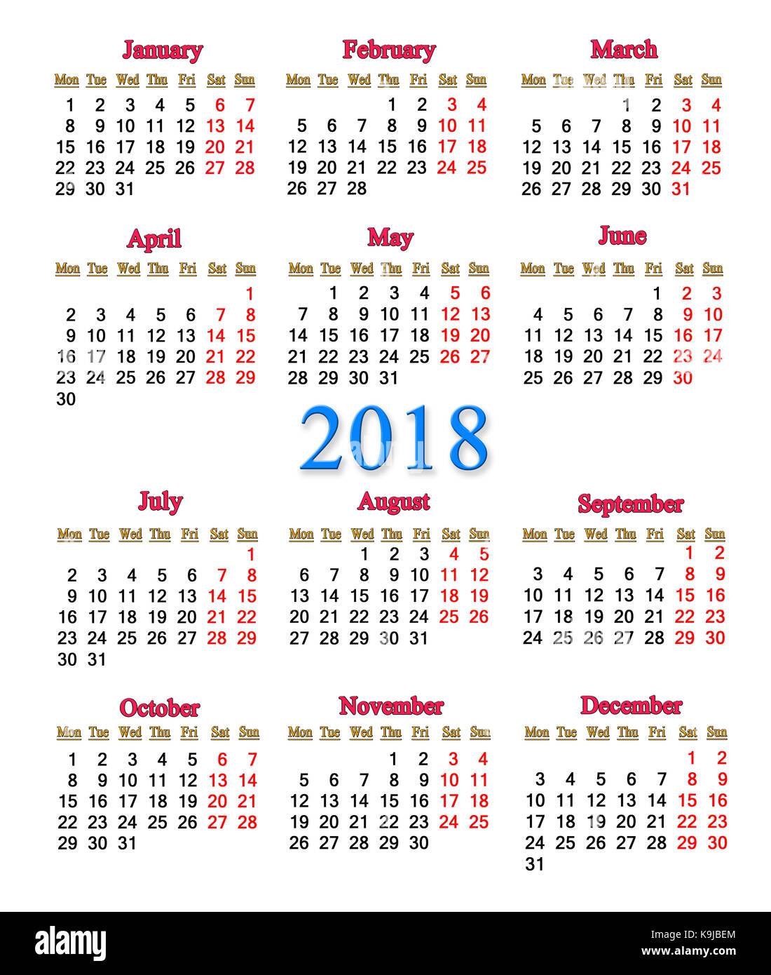 Next Year Calendar : Calendar week on sunday stock photos
