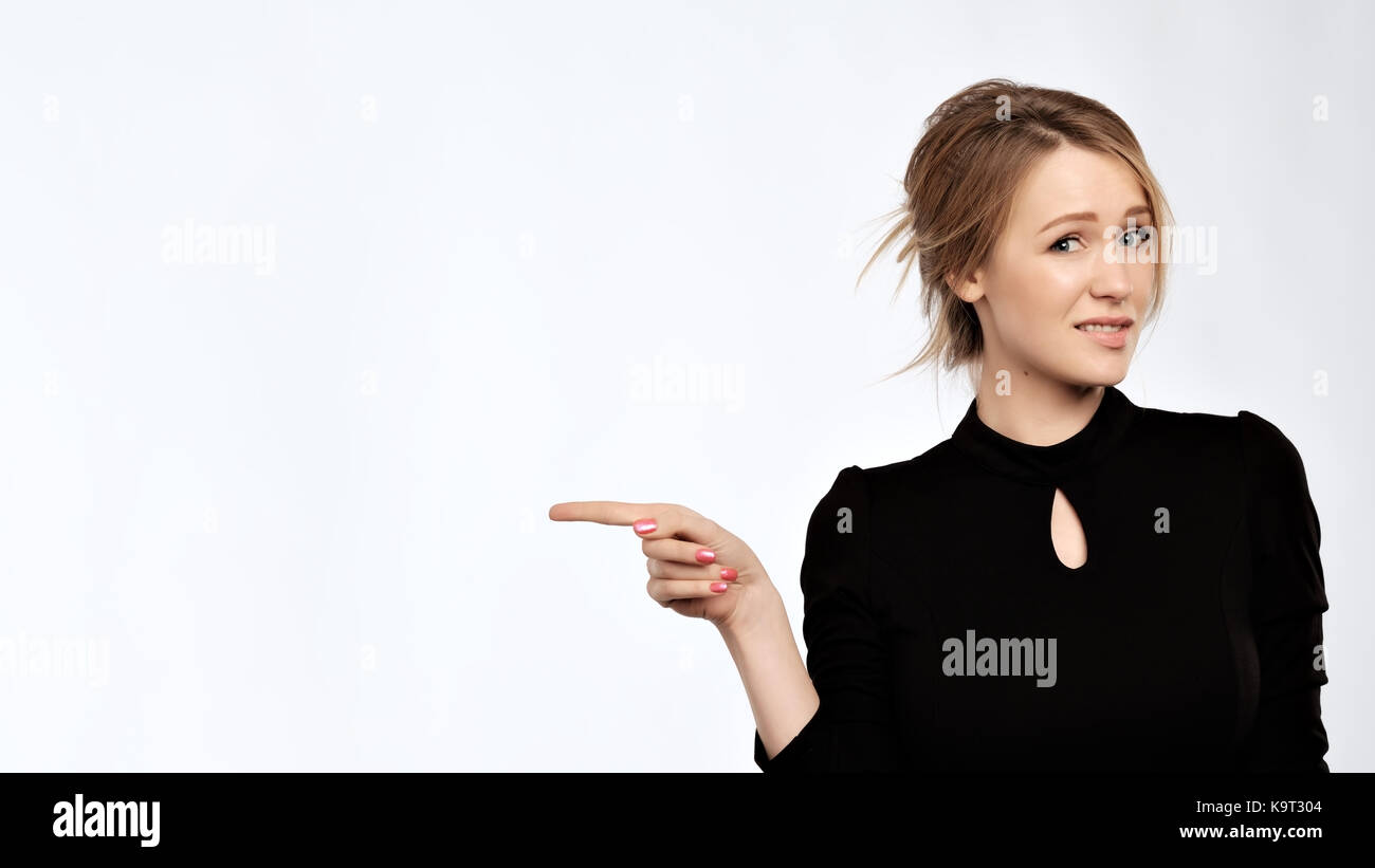 Frowning caucasian woman with disbelief thinking. - Stock Image