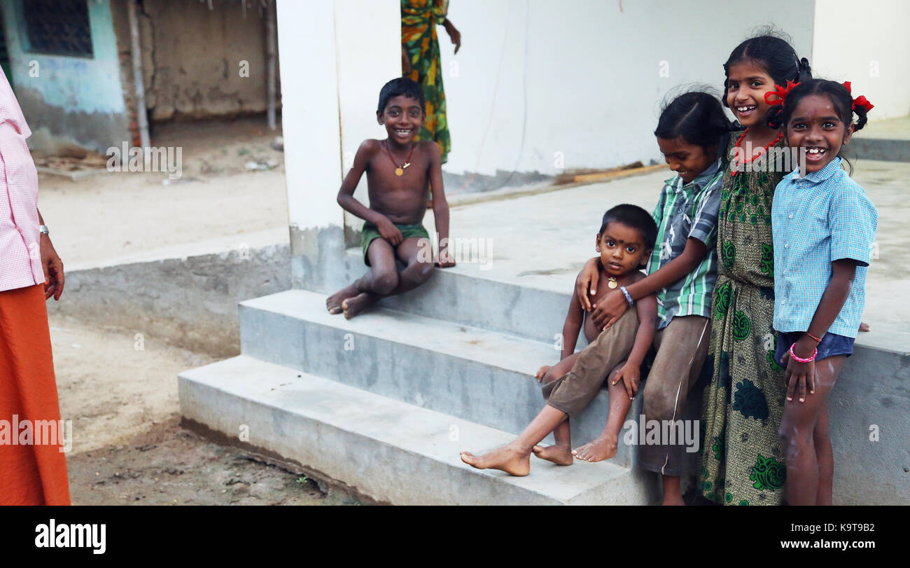 Unidentified Happy Indian rural children - Stock Image