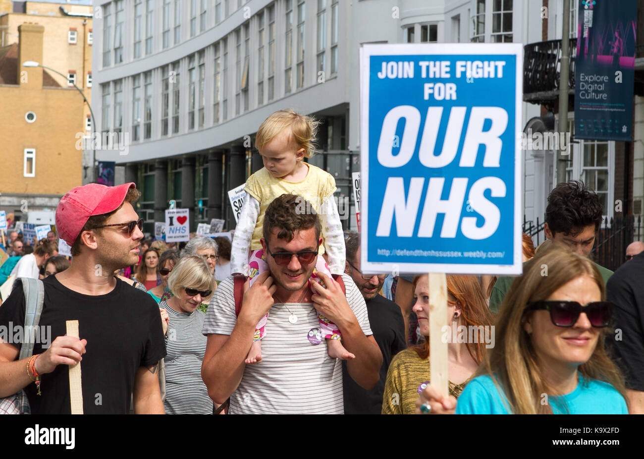 Sussex, UK. 24th September, 2017. Defend Our NHS protesters march through Brighton UK Credit: Matt Duckett/ImagesLive/ZUMA - Stock Image