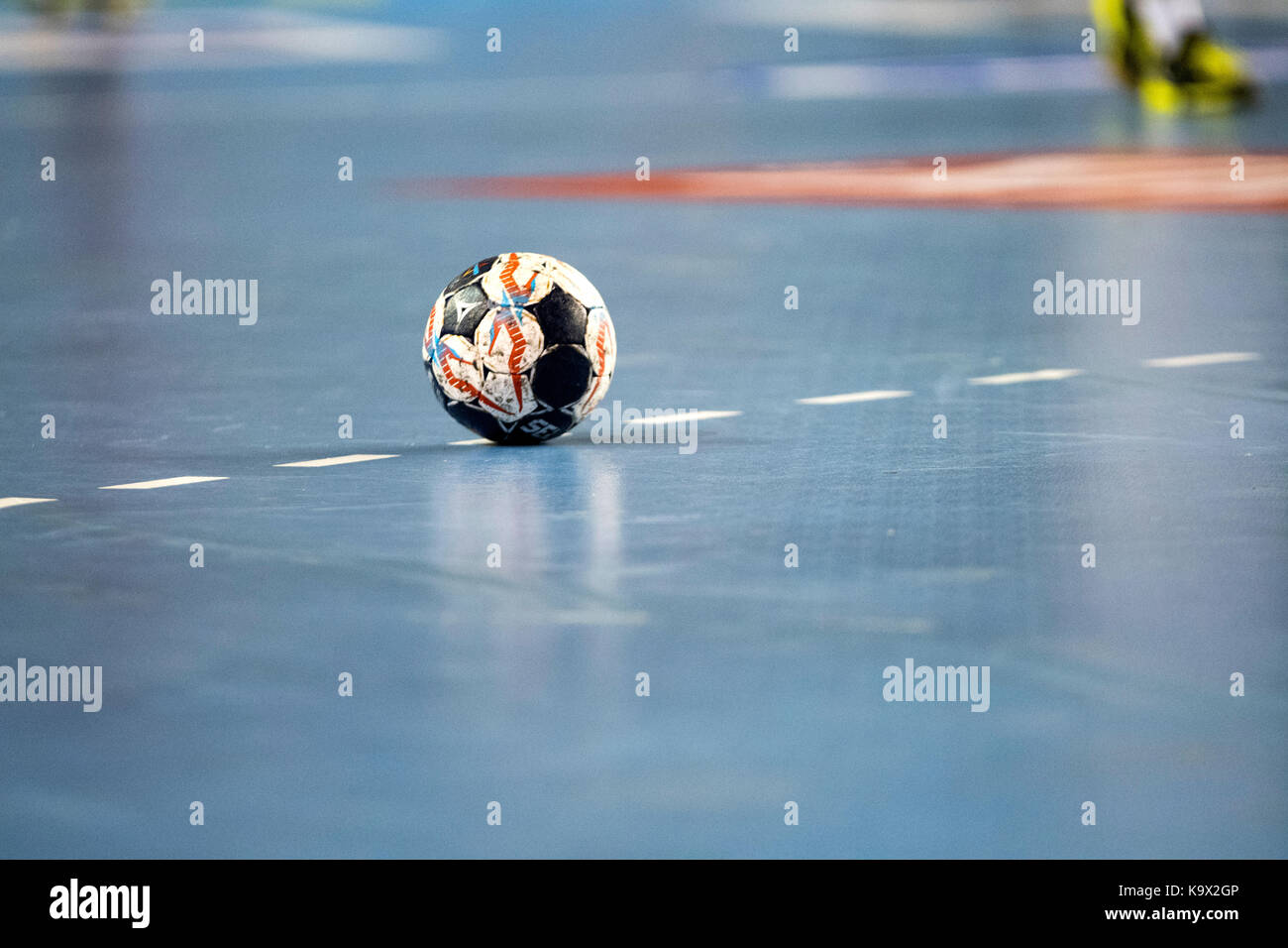 Leon, Spain. 24th September, 2017. The ball of the match during the handball match of 2017/2018 EHF Champions League - Stock Image
