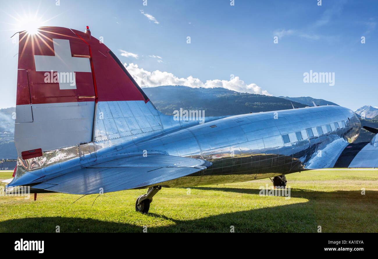 Douglas DC-3, Sion Airshow, Sion, Valais, Switzerland - Stock Image