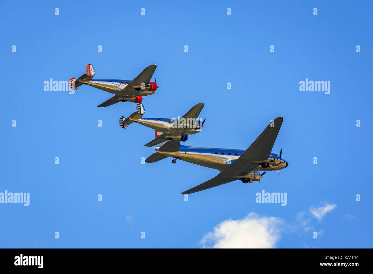 Breitling classic formation, Beech-18 and Douglas DC-3, Sion Airshow, Sion, Valais, Switzerland - Stock Image