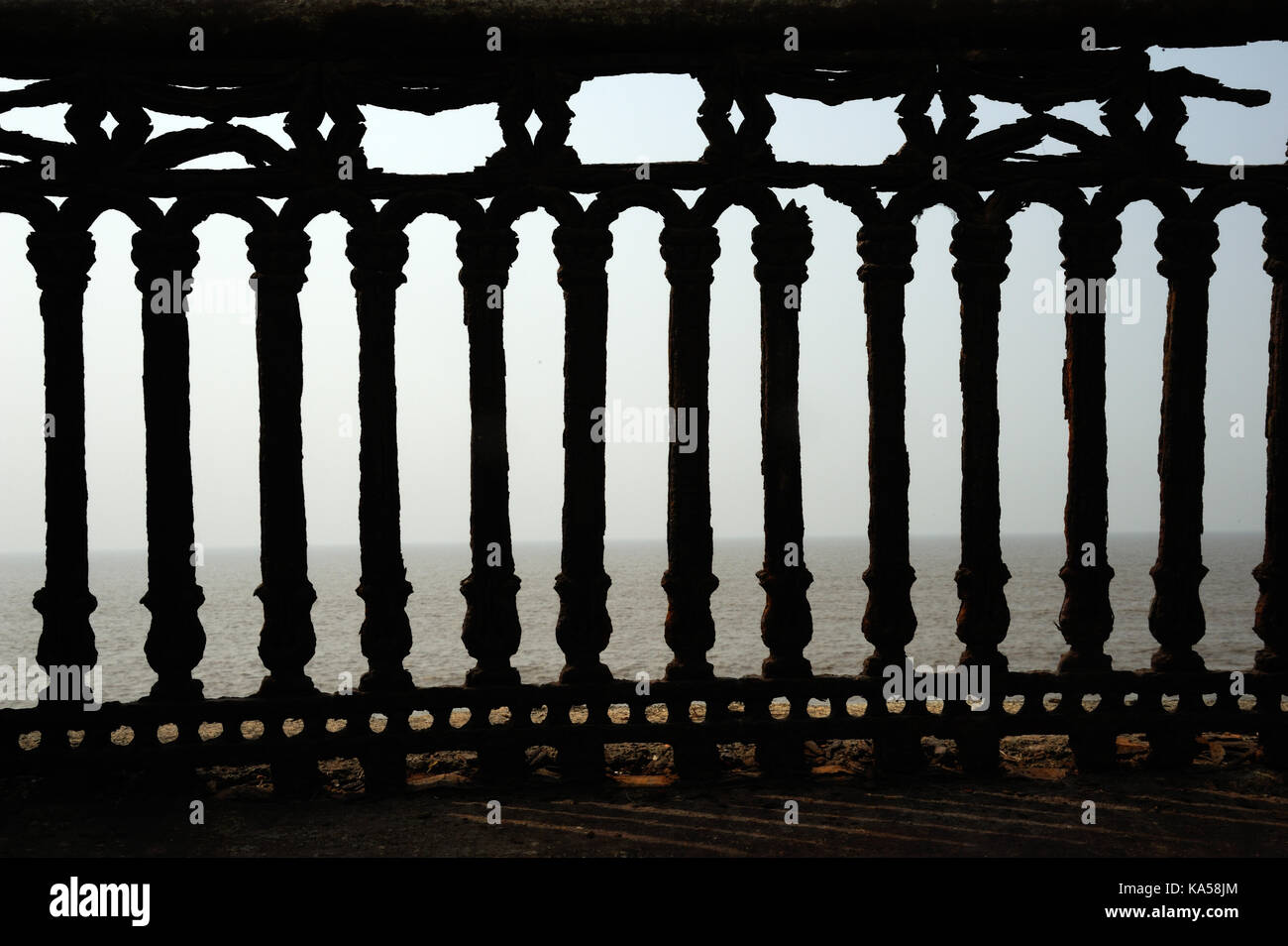 Rusted iron handrail Valsad gujarat , India, Asia - RMM 258772 - Stock Image