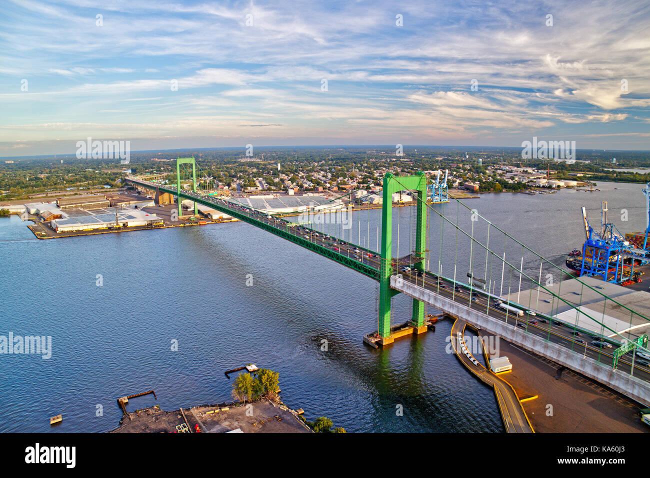 Aerial View of Walt Whitman Bridge Philadelphia - Stock Image