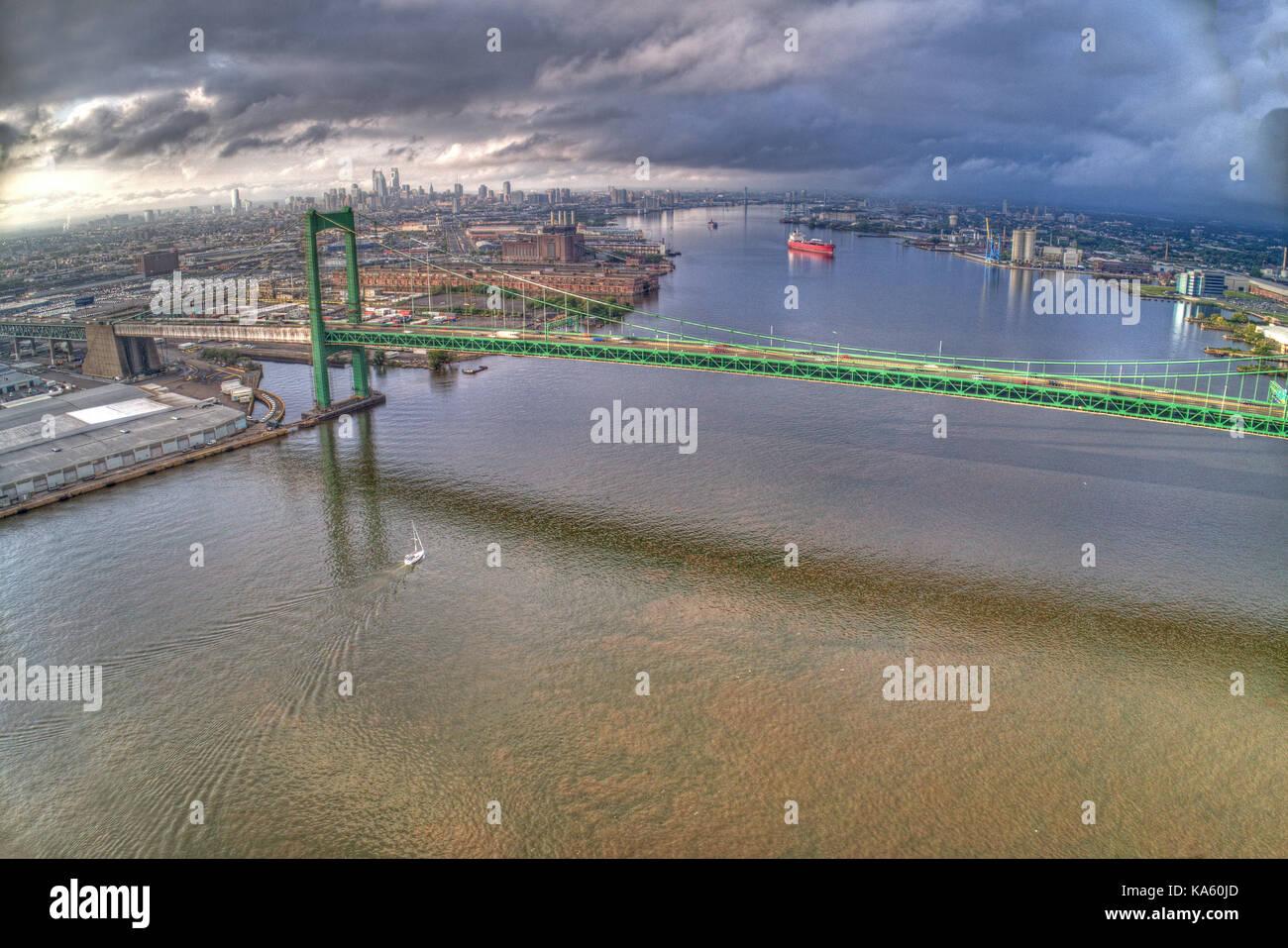 Aerial of Walt Whitman Bridge Looking Towards Center City Philadelphia - Stock Image