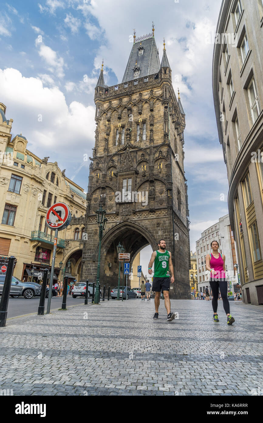 Prague, Czech Republic - Aug 12, 2015: People exercising on the streets of the old town - Stock Image