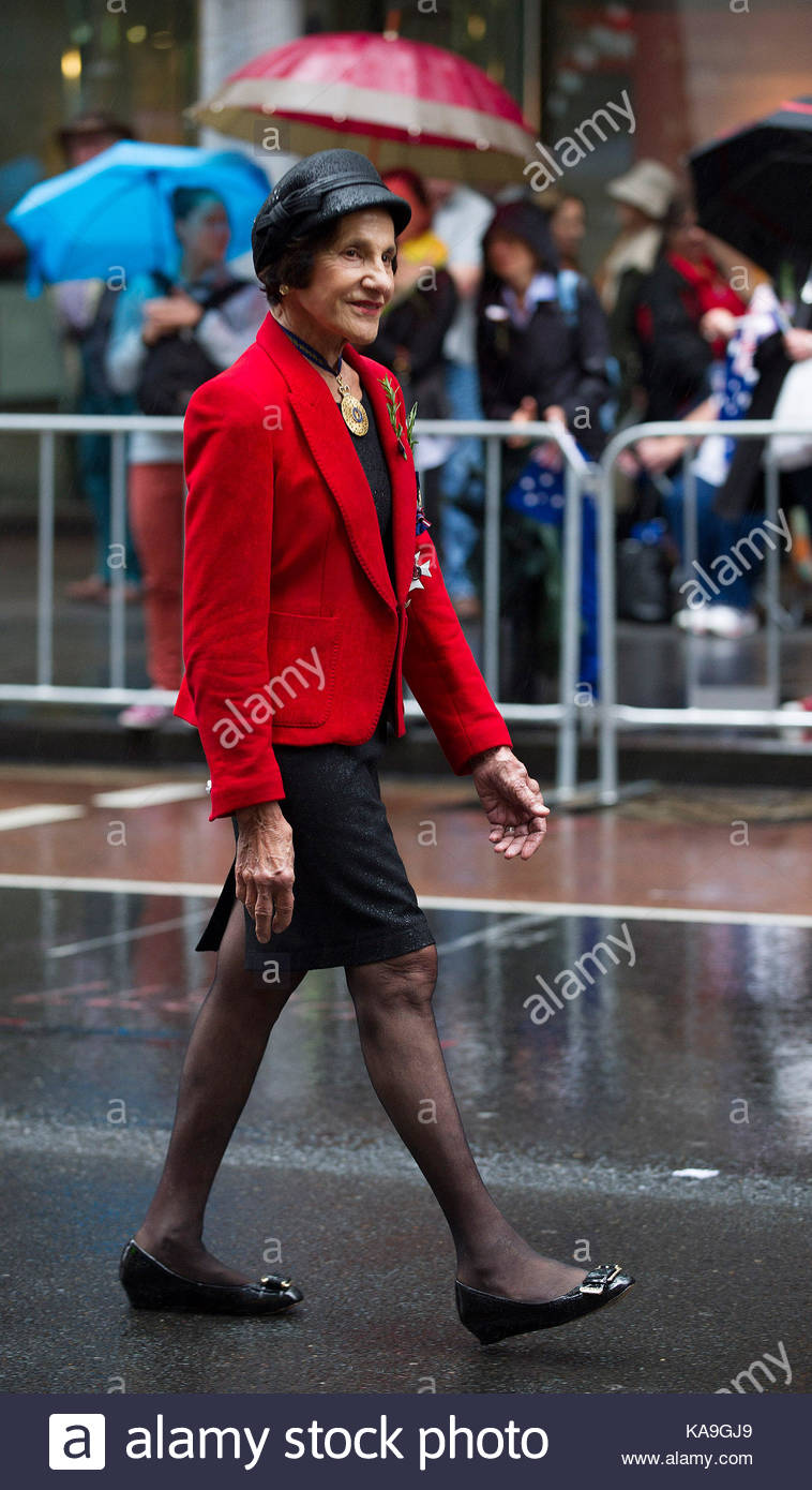The Honourable Marie Bashir AC CVO. Anzac Day is celebrated with the annual military parade on George Street in - Stock Image