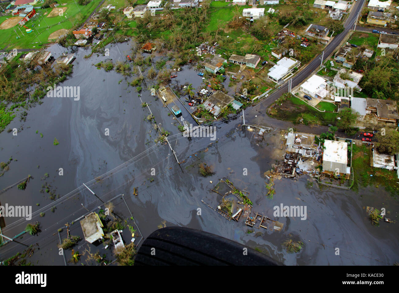 Damage caused by Hurricane Maria in Puerto Rico - Stock Image