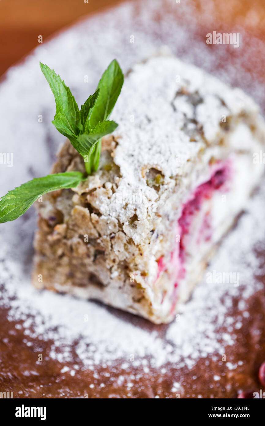 Fresh cake with powdered sugar - Stock Image