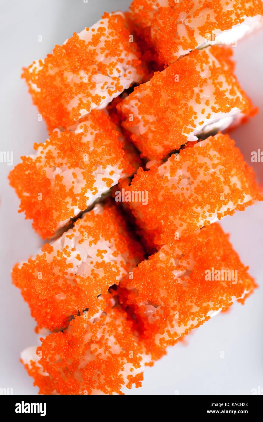 Tasty sushi on plate - Stock Image
