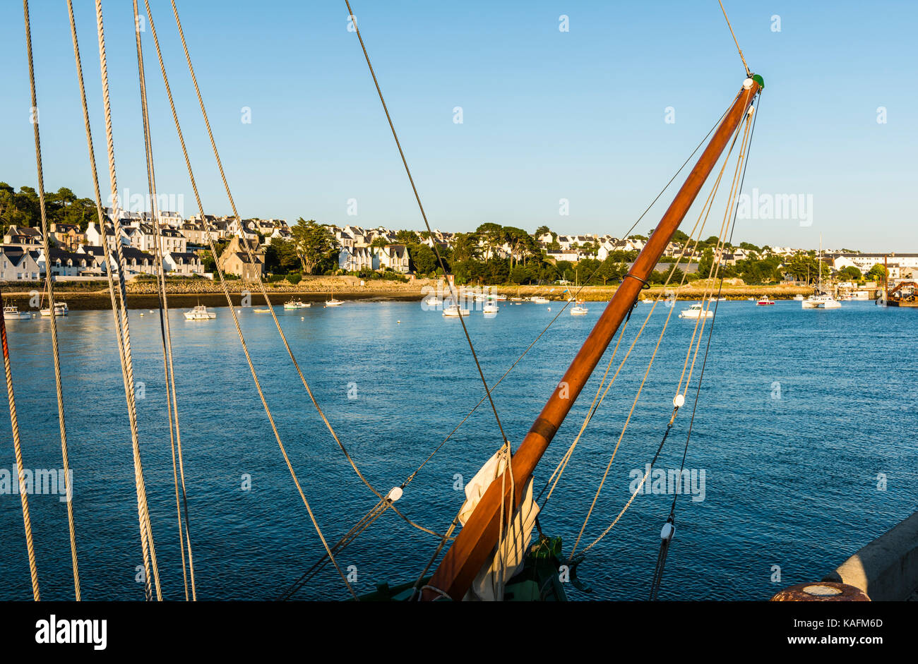 Abstract detail of the front of a sail boat in Brittany, France - Stock Image