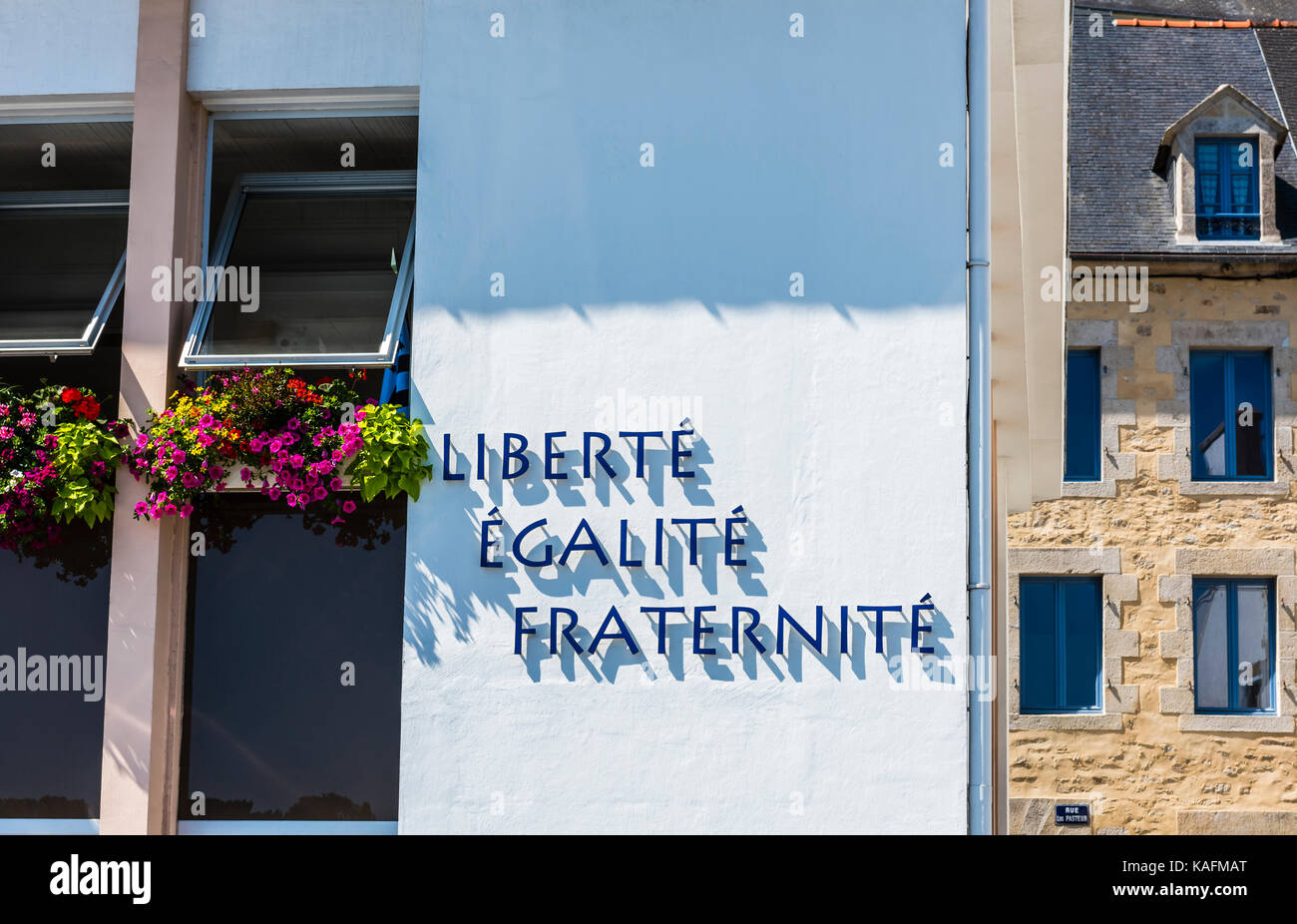 Abstract of a police building front in Brittany, France - Stock Image