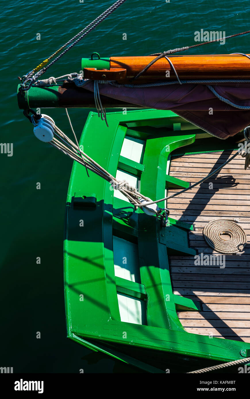 Abstract of the aft end of a sail boat in Brittany, France - Stock Image