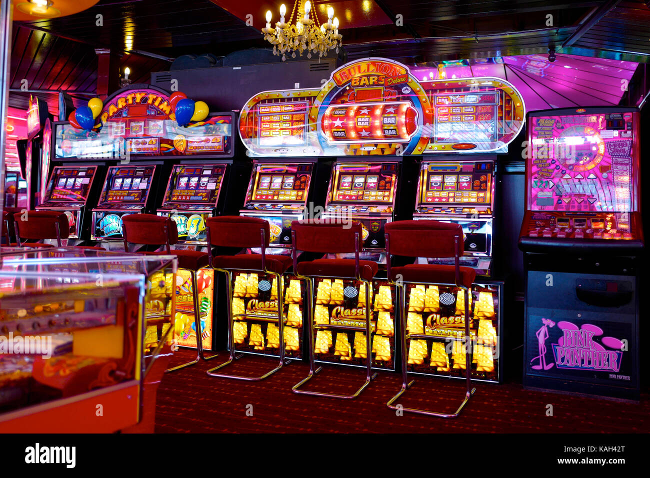 Gambling machines in amusement arcade, UK - Stock Image