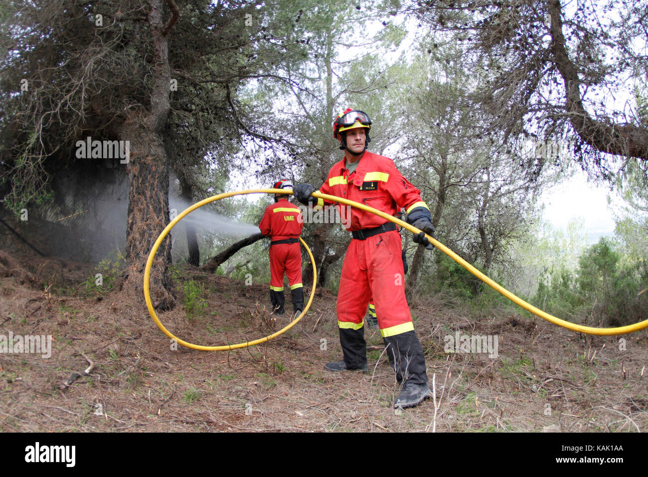 firefighters during forest fire in the spanish island of Mallorca - Stock Image