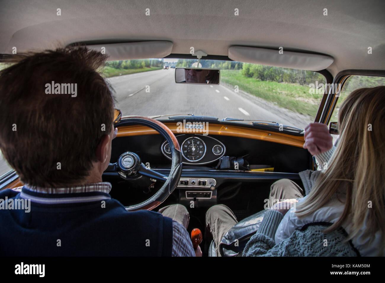 En tur med hundkojan / on tour with a BMC Mini - Stock Image