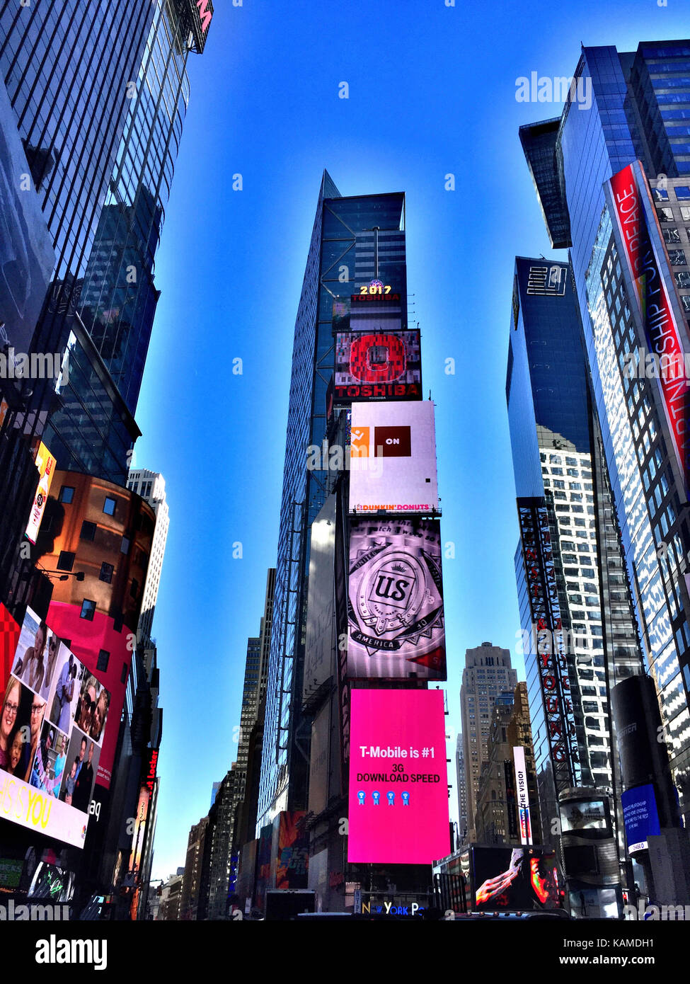 Electronic Advertising Billboards in Times Square, NYC, USA - Stock Image