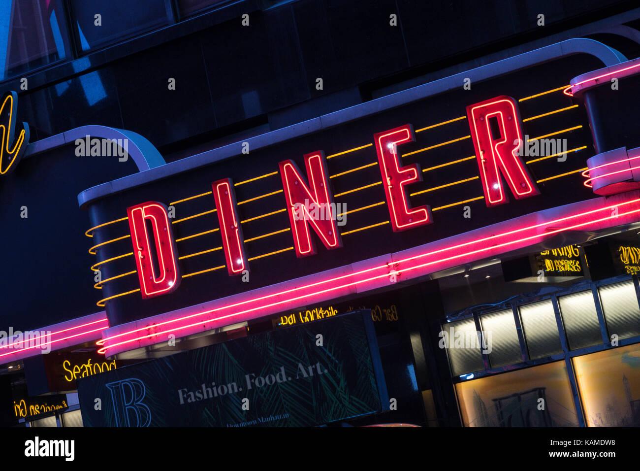 Neon Usa Brooklyn Diner Sign Stock Photos Amp Neon Usa