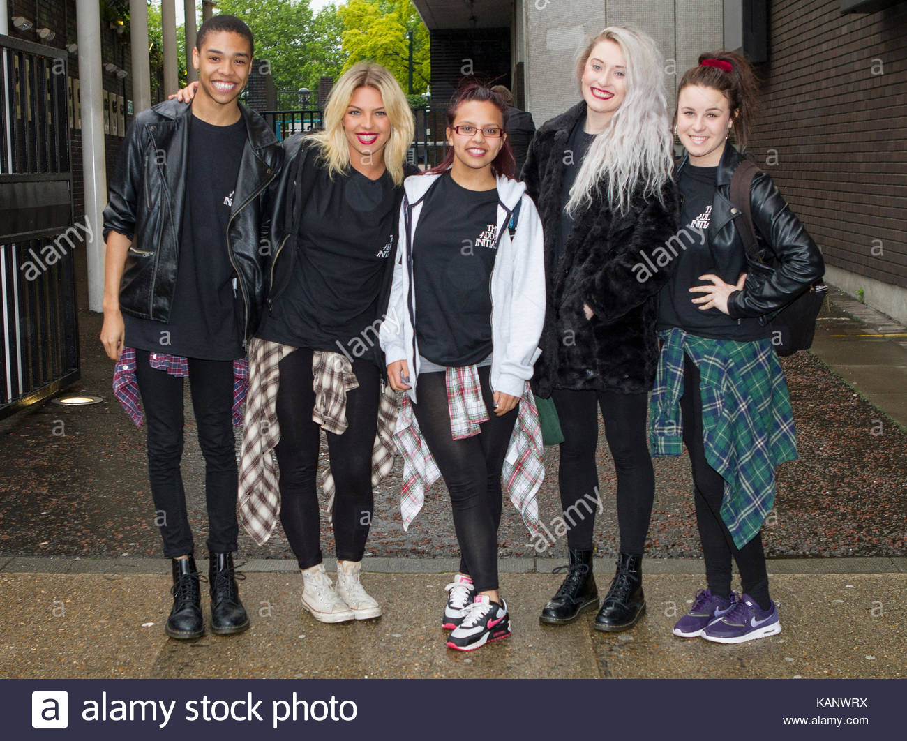 Addict Initiative. BGT dance group, Addict Initiative are pictured arriving at the ITV studios for a guest appearance - Stock Image