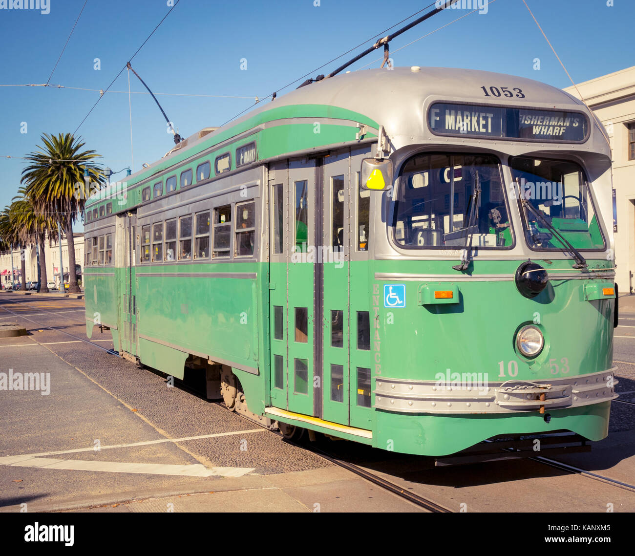 Historic streetcar (Brooklyn & Queens Transit Corporation No. 1053) at the Embarcadero in San Francisco, California. - Stock Image