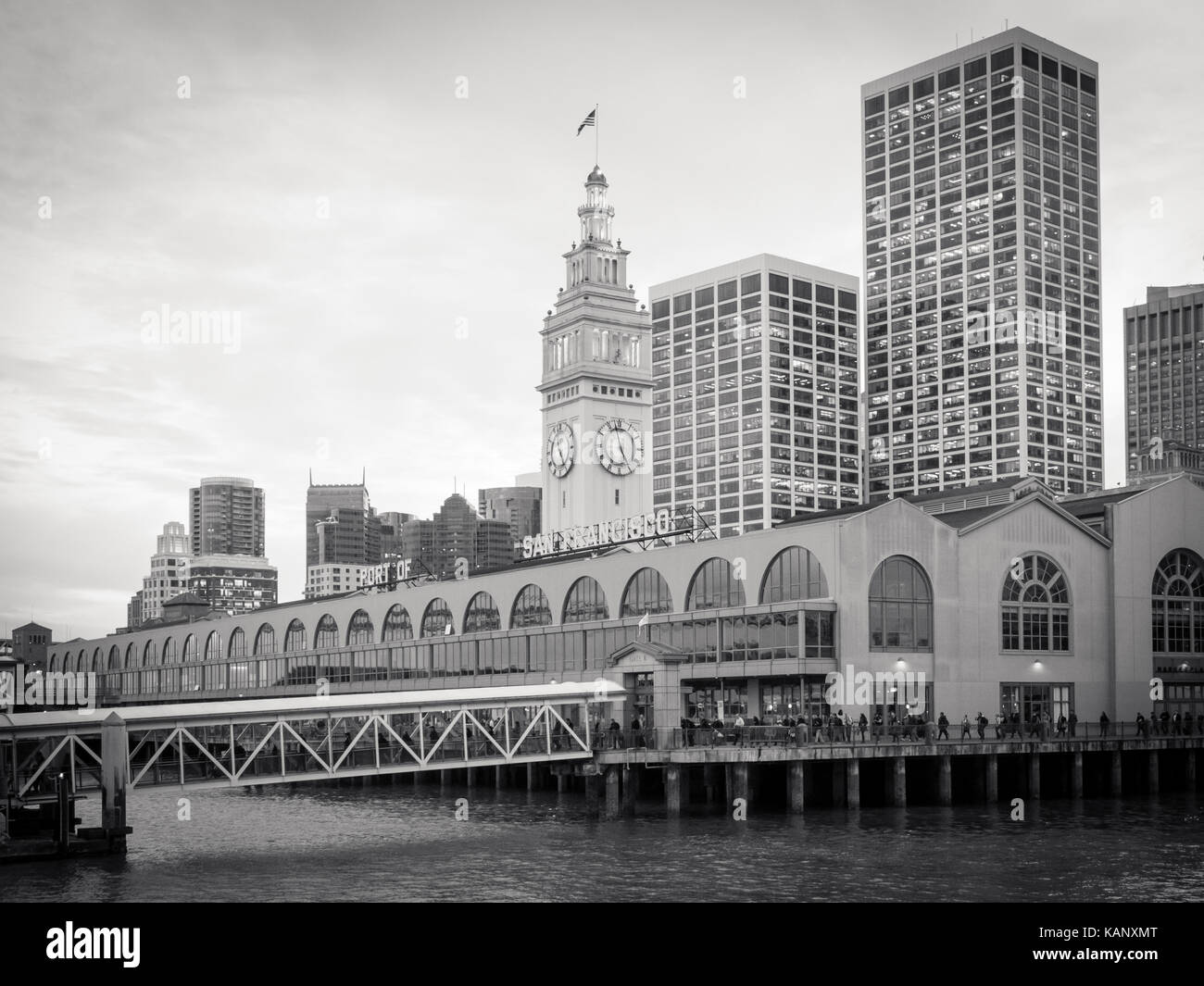 A black-and-white photo of the San Francisco Ferry Building, which is located on The Embarcadero in San Francisco, - Stock Image